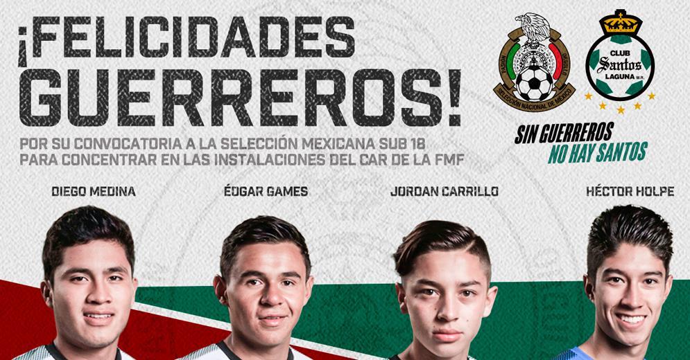 Cuatro elementos Guerreros convocados a la Selección Nacional de México Sub 18